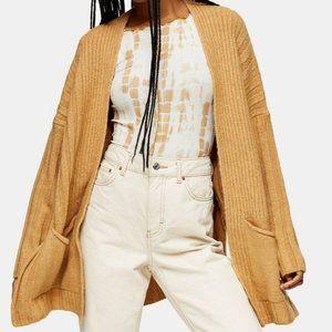 TopShop Long Cardigan Sweater Camel Knit NWT